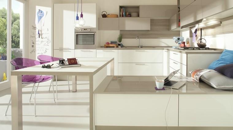 cocina moderna sillas purpura ideas