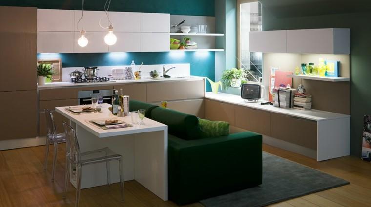 cocina moderna sofa verde preciosa ideas