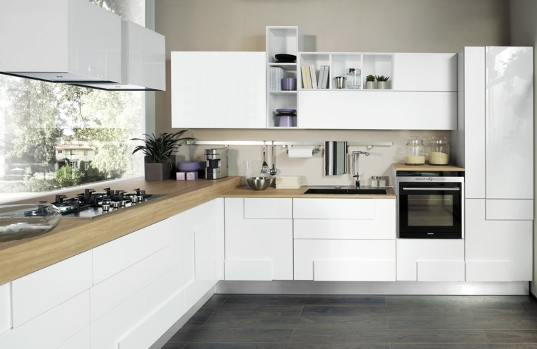 cocina moderna suelo madera muebles blancos ideas