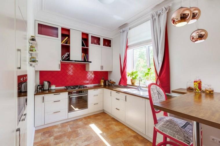 cocina moderna toques rojo ideas