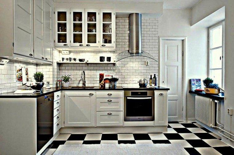 cocina retro color blanco negro