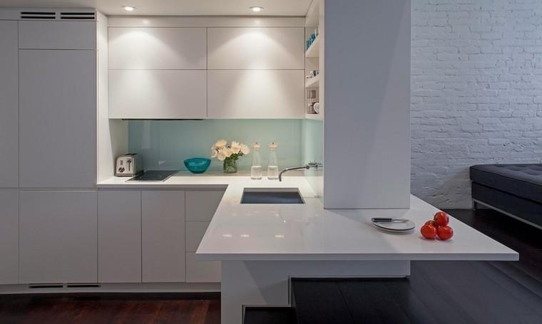 cocina diseño estilo futurista blanca