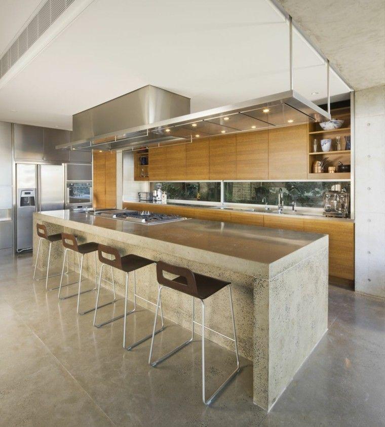 cocina moderna isla taburetes cemento