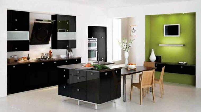 cocina moderna color negro verde