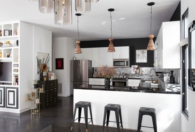 cocinas atractiva pendiente negra sillas
