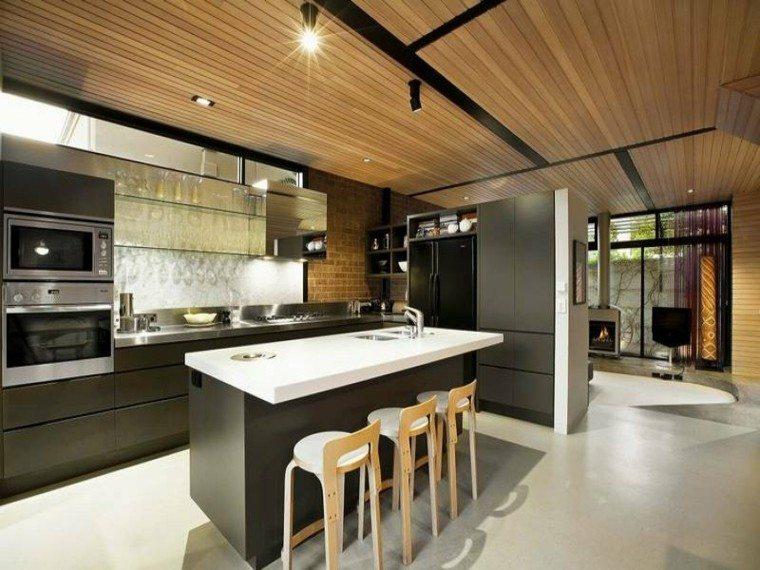 imagenes de cocinas diseño techo madera