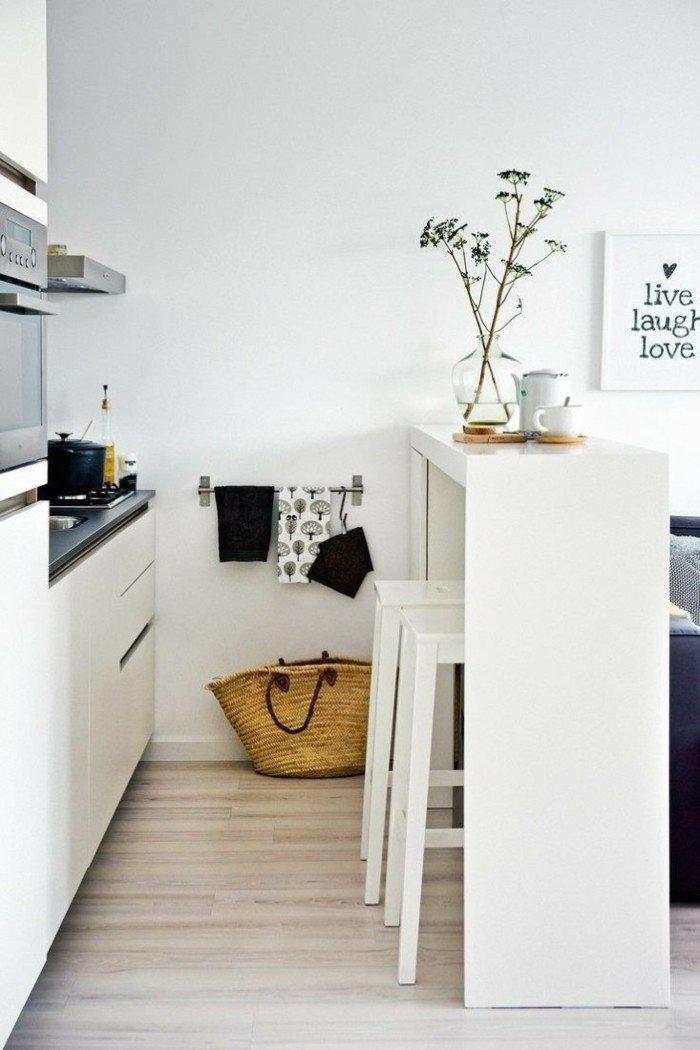 cocinas pequeñas ideas barra blanca moderna