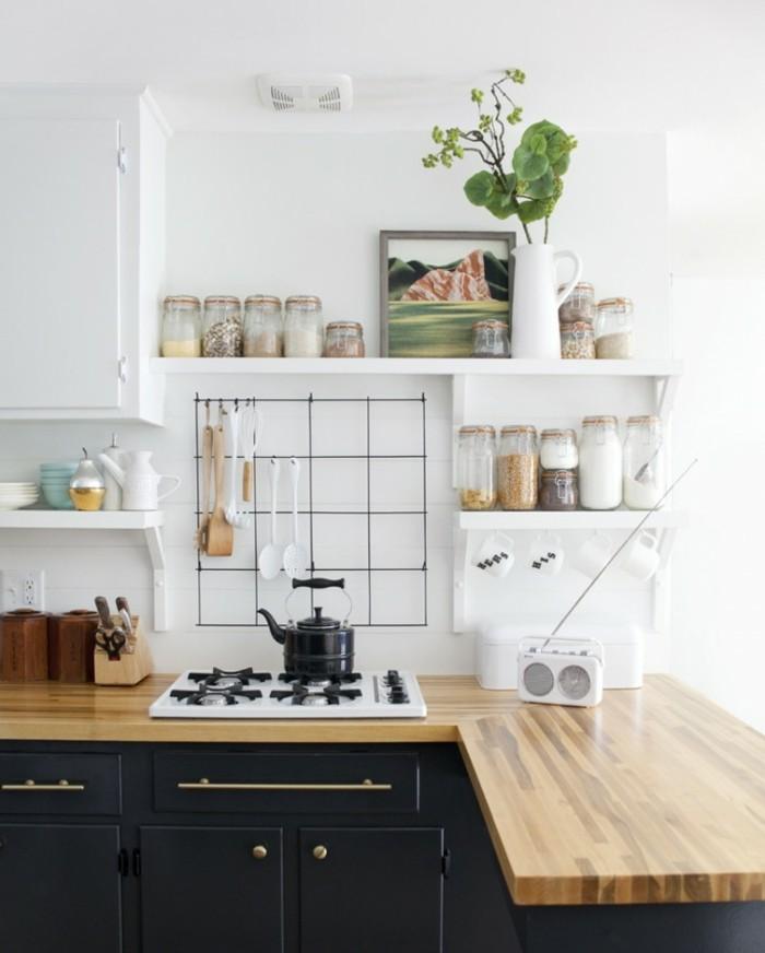 cocinas pequeñas ideas encimeras madera moderna