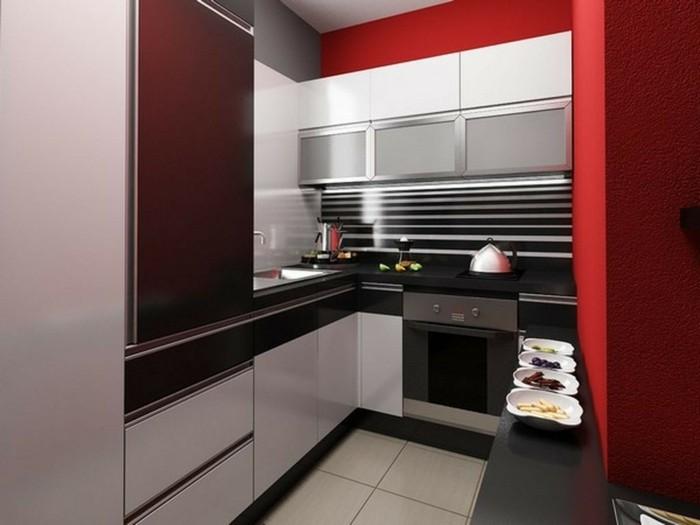 cocinas pequenas ideas paredes rojas moderna