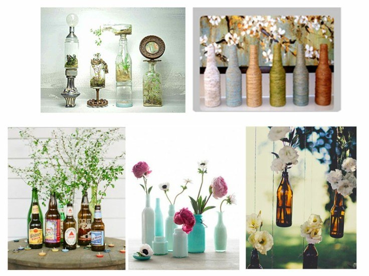 collage decorar con botellas