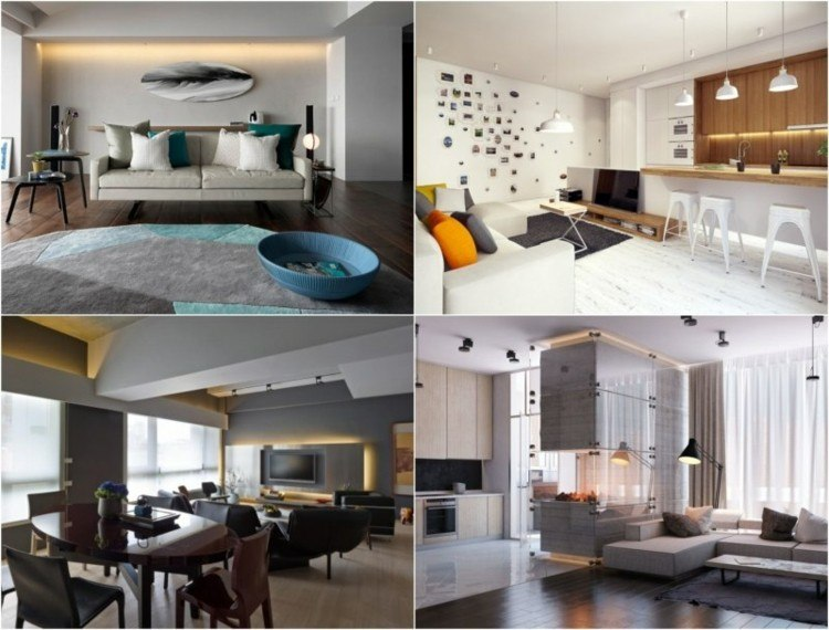 collage interiores decorados luz led