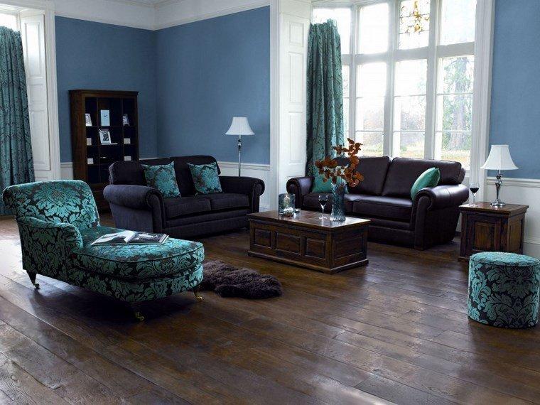 colores de pintura salon azul muebles azules ideas