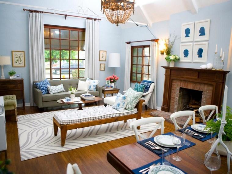 Colores de pintura 50 ideas para el sal n for Pintura azul para interiores