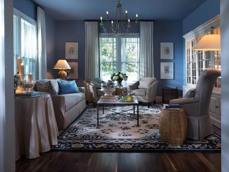 colores de pintura salon color azul suelo madera ideas