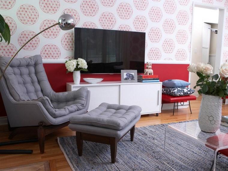 colores pintura salon combinacion blanco rojo original ideas