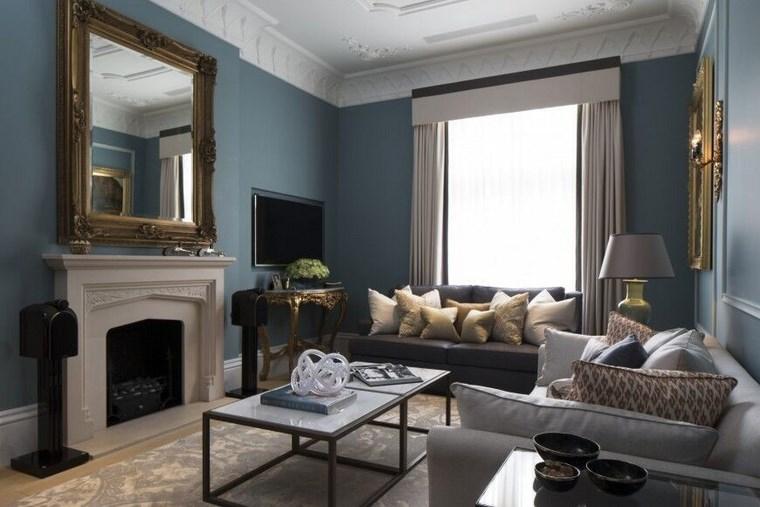 colores pintura salon espejo chimenea ideas