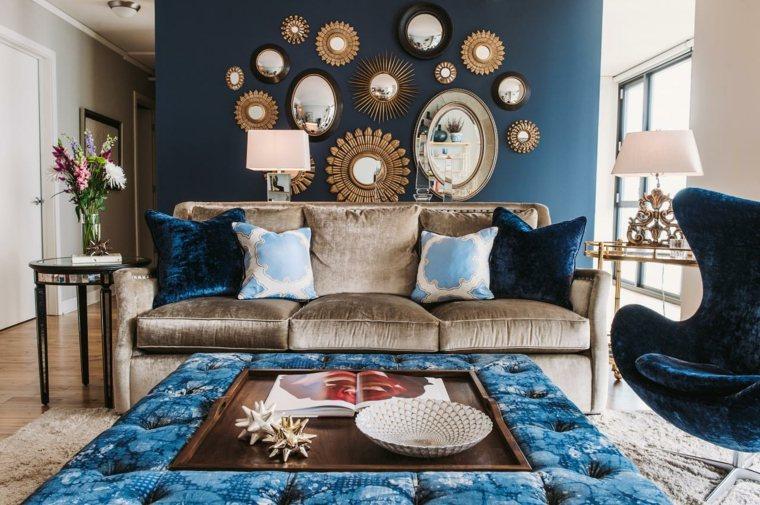 colores pintar salon azul espejos ideas