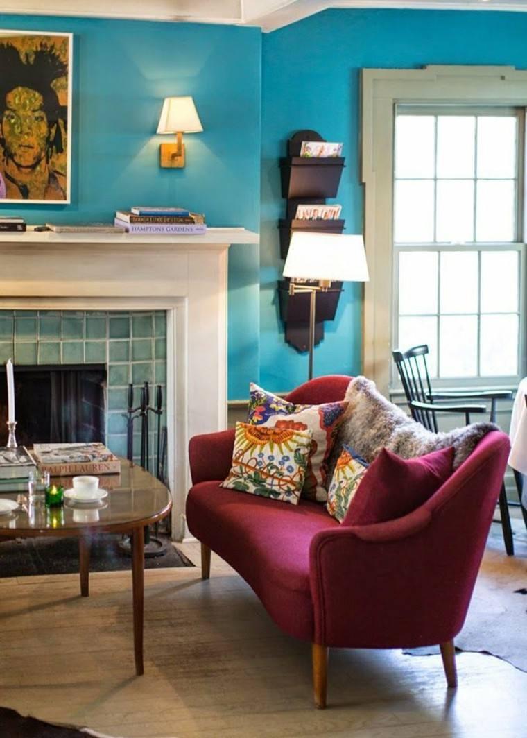 colores pintar salon azul vibrante ideas