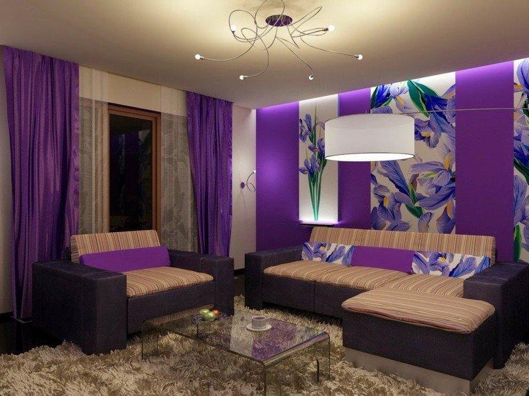 colores para pintar salon blanco purpura ideas