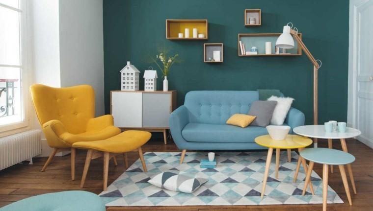 colores para pintar salon estilo azul ideas