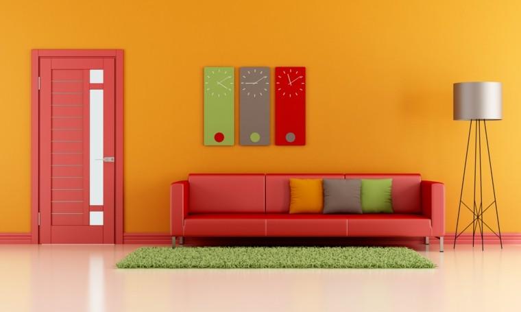 colores para pintar salon naranja relojes ideas
