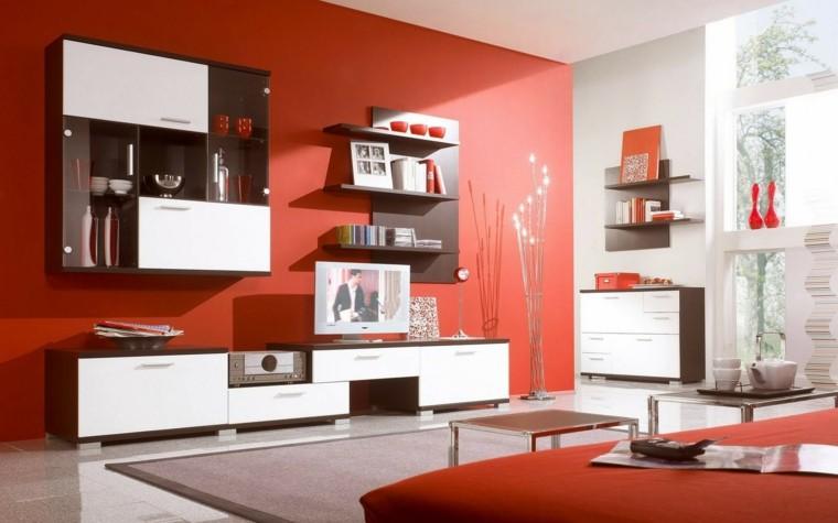 colores para pintar salon pared sofa rojo ideas
