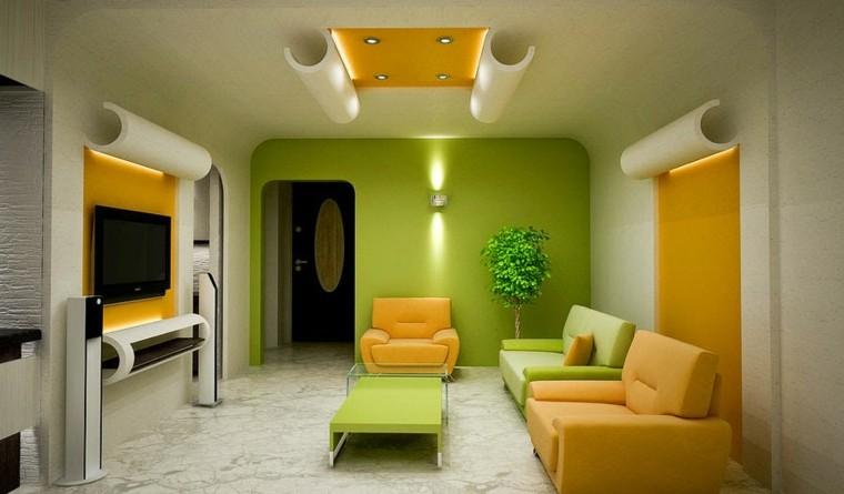 colores pintar salon verde amarillo ideas