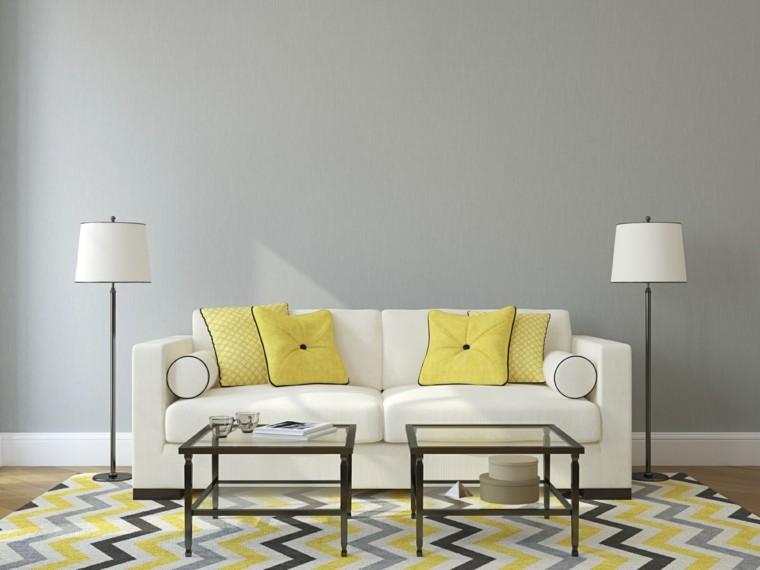 salon pared gris sofa amarillos cojines ideas