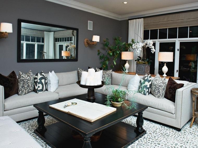 colores pintar salon pared gris ideas
