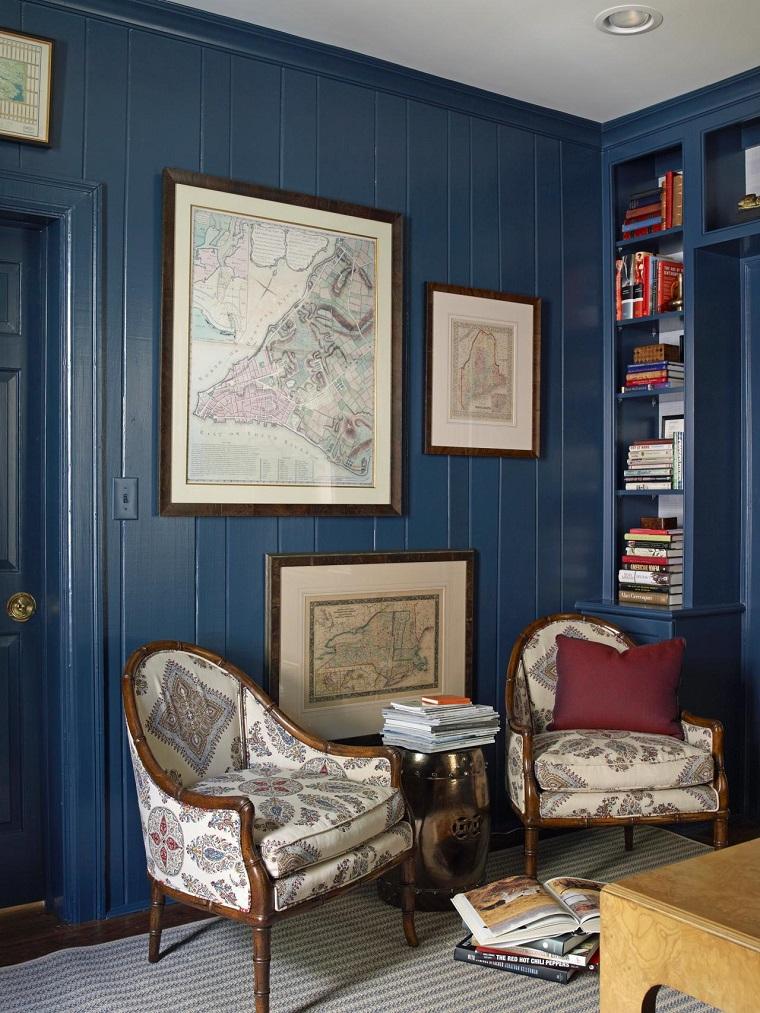 colores pintar salon pared madera azul ideas