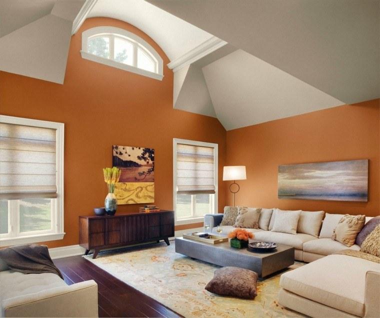 colores pintar salon pared naranja claro ideas