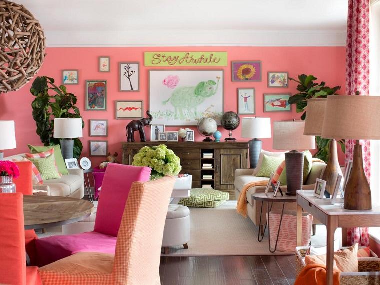 colores pintar salon pared rosa femenino ideas