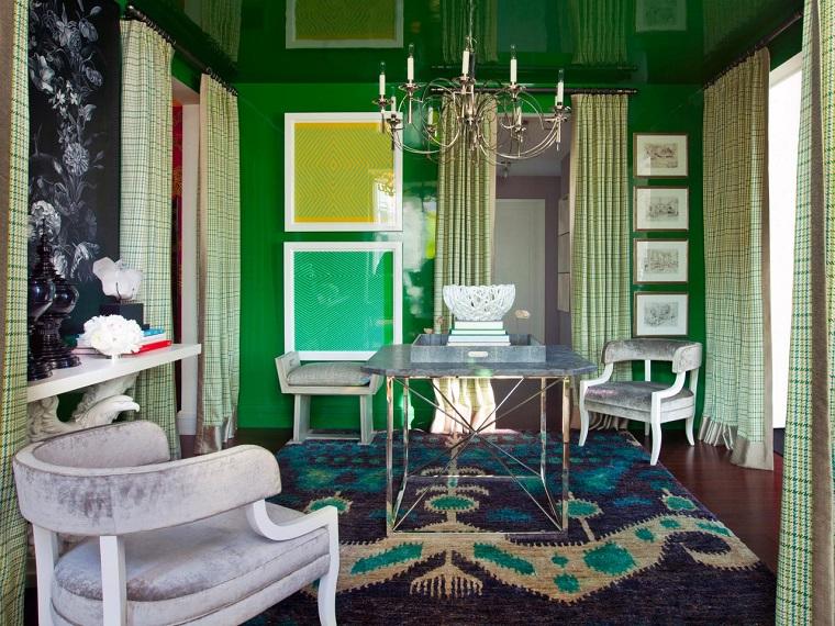 colores pintar salon pared verde estrecho ideas