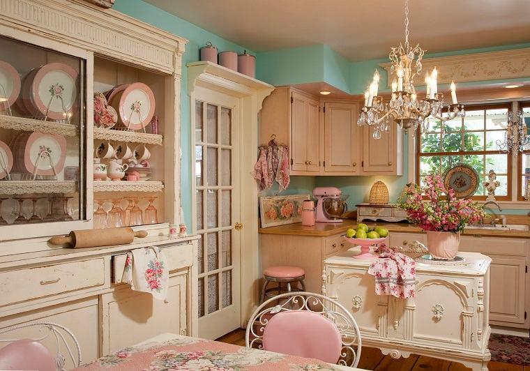 colores rosa cocinas diseno shabby chic