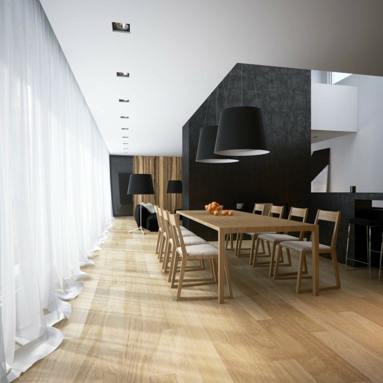 comedor moderno mesa madera grande lamparas negras ideas