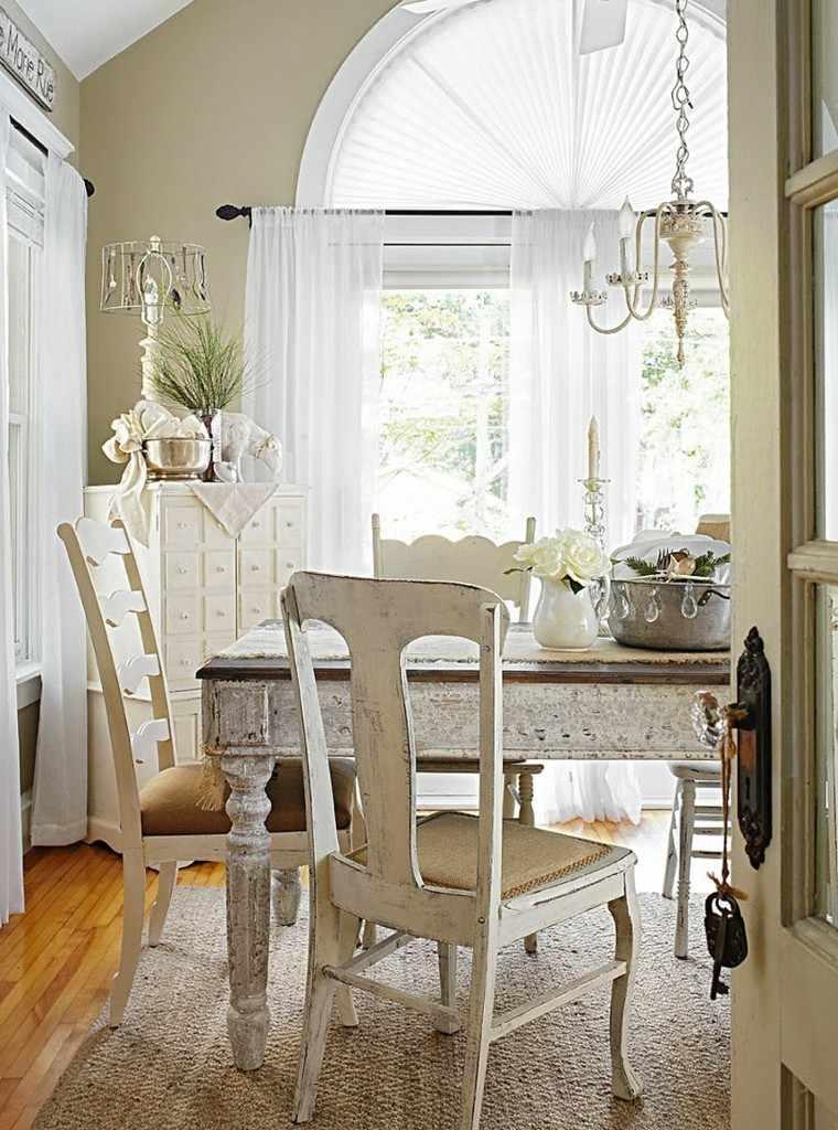 comedor vintage muebles madera blanca ideas