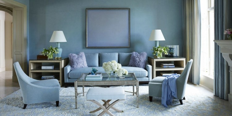 como decorar un salon pequeño azules plantas