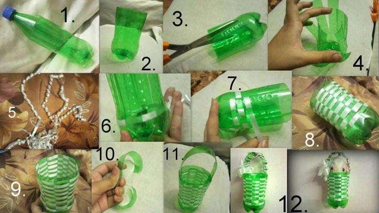 como hacer cesta botellas plástico