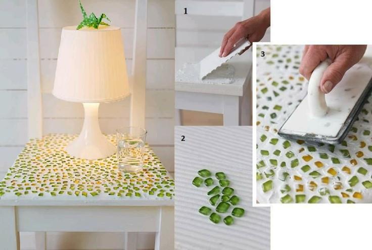 como hacer adorno cristales mesa