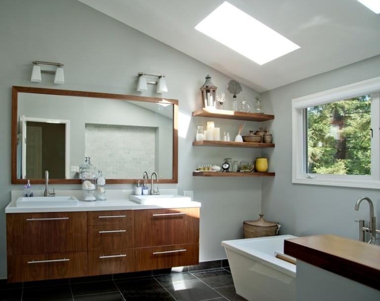 conjunto muebles baño madera
