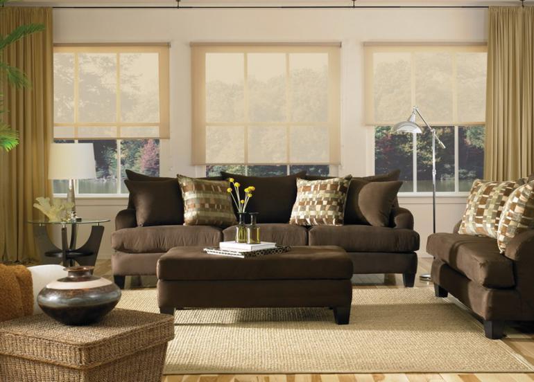 conjunto sofas color marron mesa