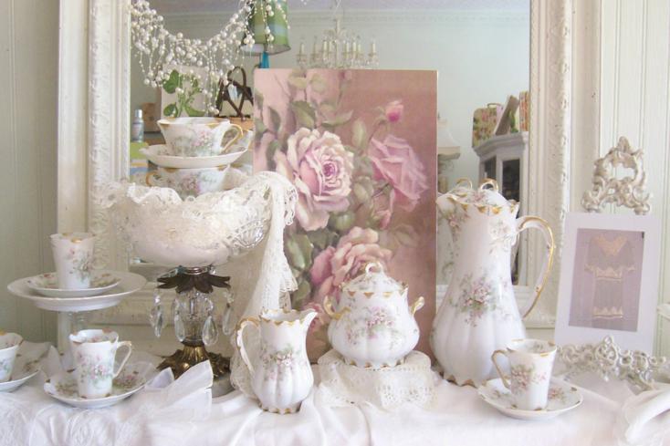 conjunto vajilla porcelana motivos flores