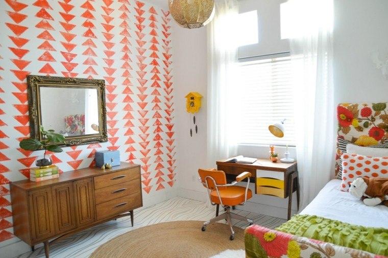 decoracion vintage escritorio papel pared ideas