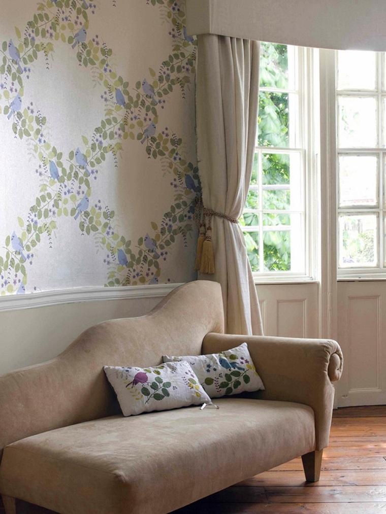 decoracion vintage sofa papel pared ideas