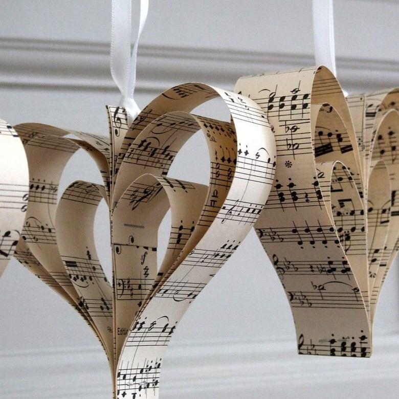 corazones deco hojas partitura