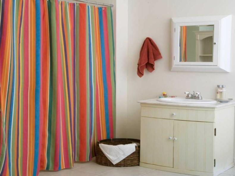 cortinas baño bandas colores verticales