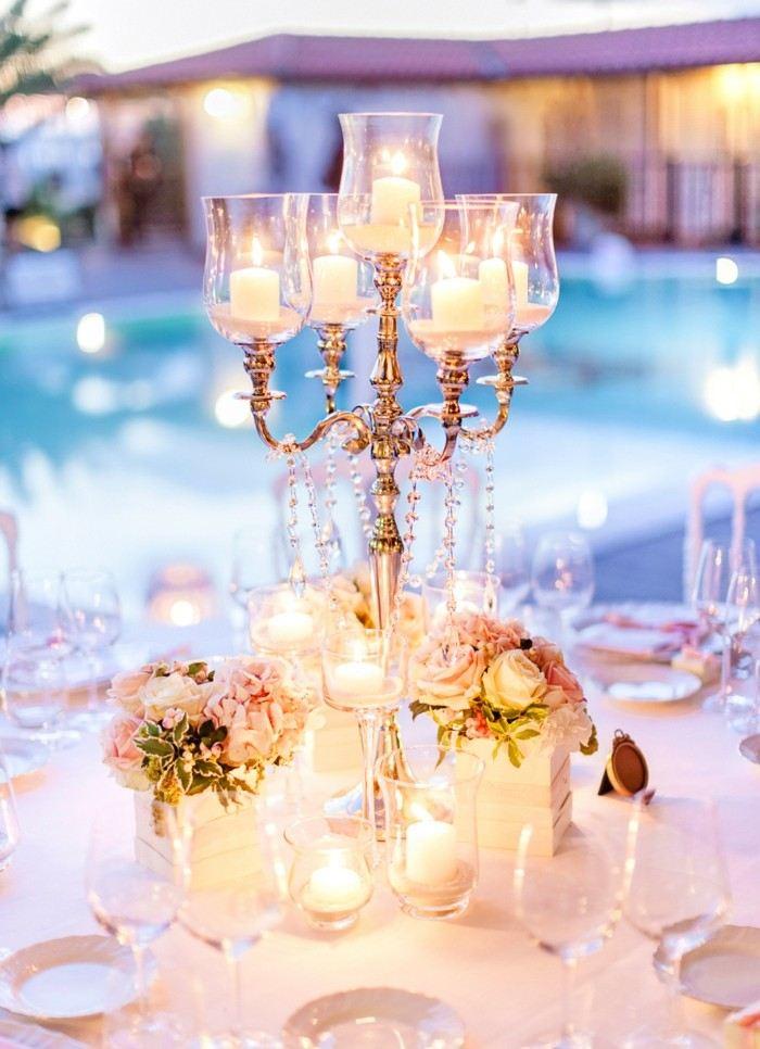 cristales flores candelabros mesa boda centro ideas