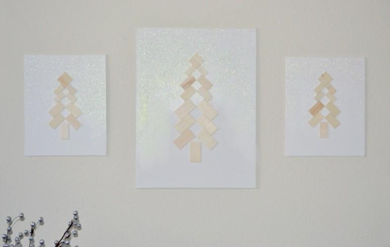 cuadros pared abetos navideños
