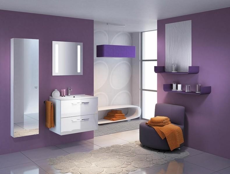 diseño cuarto baño color lila