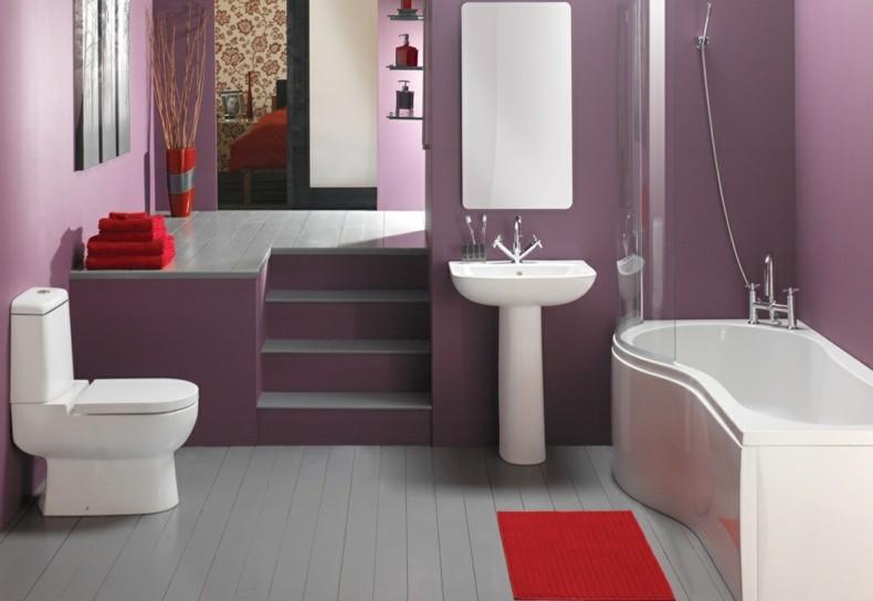 cuarto baño color violeta moderno